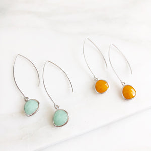 Long Silver Drop Earrings in Mint Ice and Mustard Yellow. Wide Teardrop Marquise Earrings.