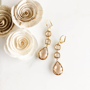 Long Champagne Dangle Earrings in Gold.