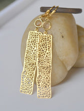 Load image into Gallery viewer, Gold Rectangle and Champagne Jewel Dangle Earrings. Statement Earrings. Jewelry Gift for Her. Free Shipping.