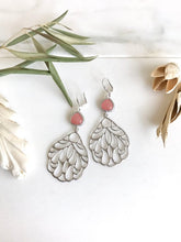 Load image into Gallery viewer, SALE - Pink Stone and Silver Wing Dangle Earrings. Pink Wing Earrings. Jewelry Gift.