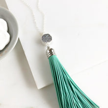 Load image into Gallery viewer, Tassel Necklace. Leather Tassel Necklace. Silver Druzy and Aqua Tassel Necklace. Long Necklace.
