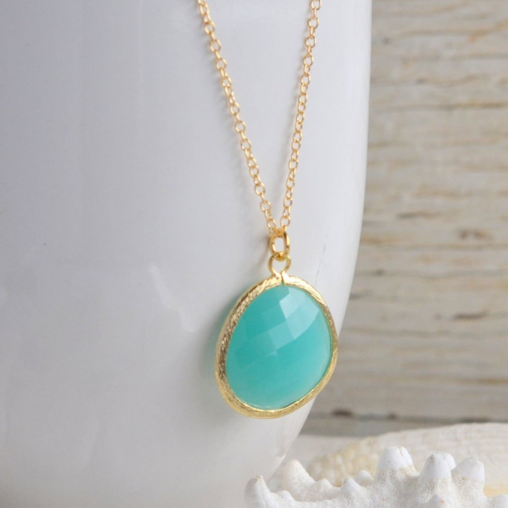 Long Turquoise Jewel Statement Necklace