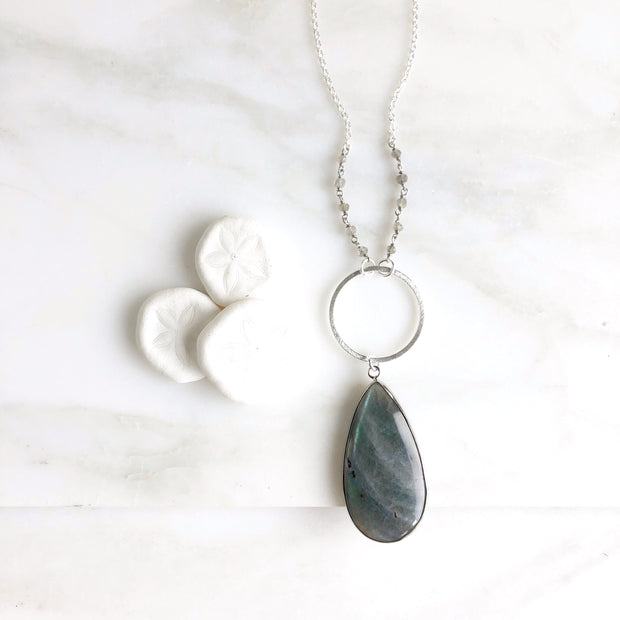 Long Labradorite Teardrop Necklace in Sterling Silver