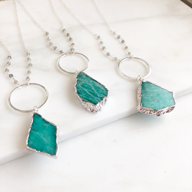 Long Silver Amazonite Necklace. Shield Stone Boho Necklace