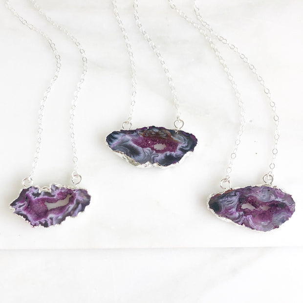 Purple Geode Slice Necklace in Sterling Silver. Raw Stone Silver Necklace