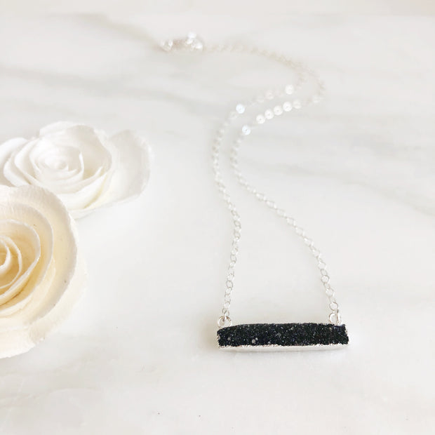 Black Druzy Bar Necklace. Thin Black Druzy Bar Necklace in Sterling Silver
