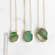 Chrysoprase Gemstone Slice Necklaces in Gold. Australian Jade Pendant Necklaces