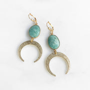 Amazonite Crescent Earrings in Gold. Gold Moon Dangle Earrings with Gemstone