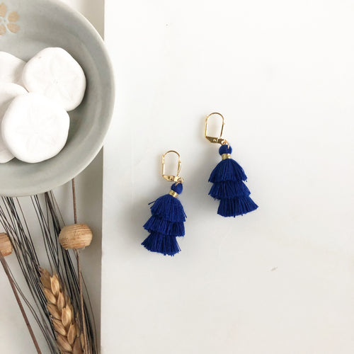 Cute Puffy Dangle Earrings in Navy. Tassel Earrings. Jewelry Gift.