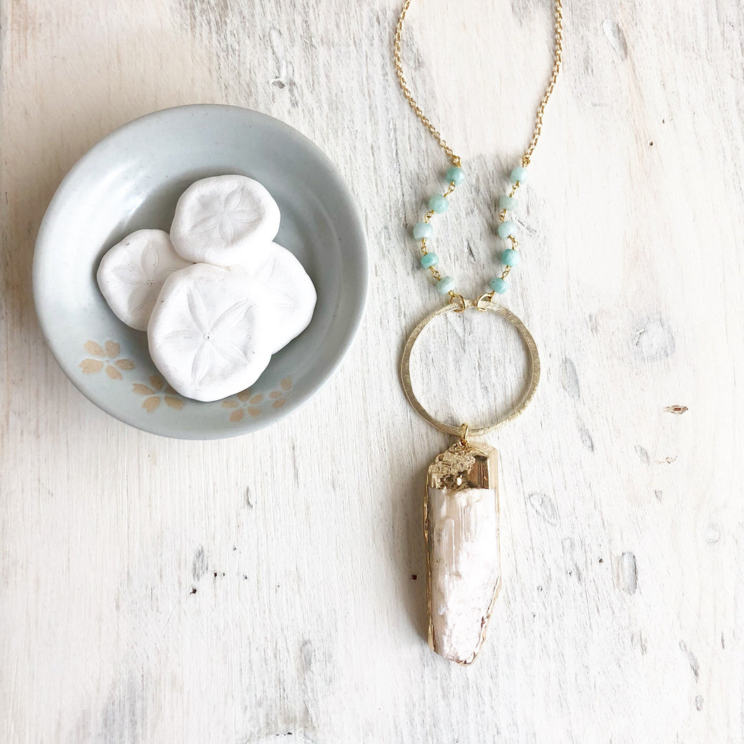 Long Boho Necklace in Aqua & Gold. Crystal Necklace. Selenite Necklace. Amazonite Necklace. Long Beaded Necklace. Bohemian Necklace. Jewelry