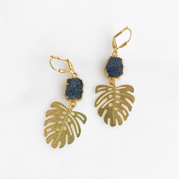 Gold Leaf Earrings with Black Druzy and Monstera leaves. Black Gold Dangle Earrings