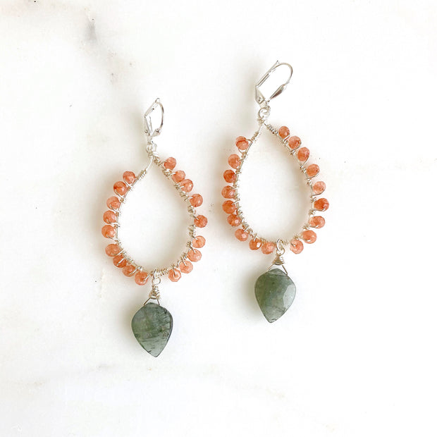Peach Moonstone and Moss Aquamarine Dangle Earrings in Silver
