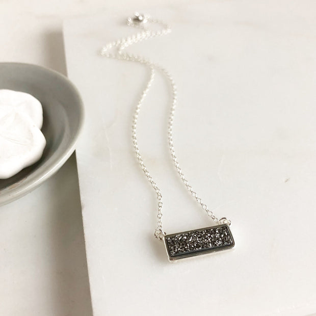 Silver Druzy Bar Necklaces in Sterling Silver