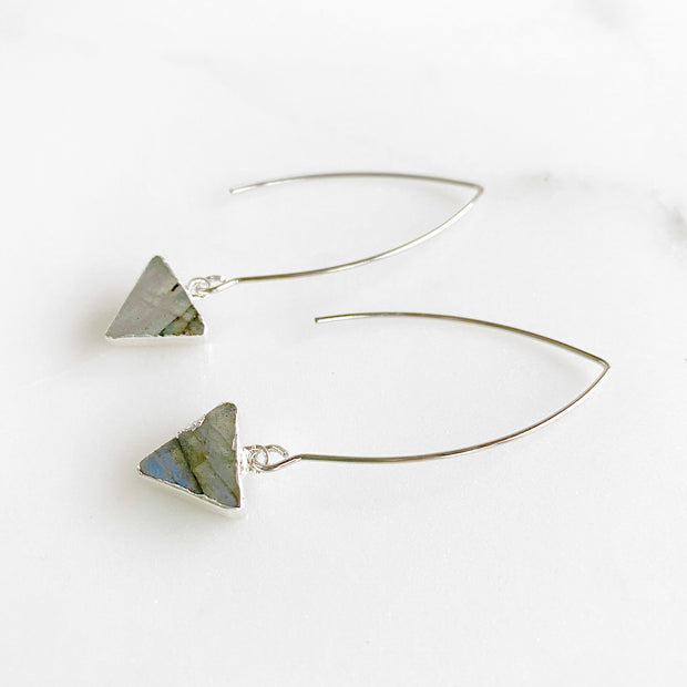 Labradorite Triangle Long Drop Earrings in Silver. Triangle Earrings. Silver Geometric Earrings
