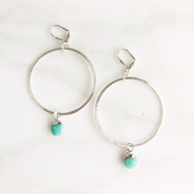 Silver Hoop Earrings with Amazonite Drops. Silver Statement Earrings. Dangle Earrings