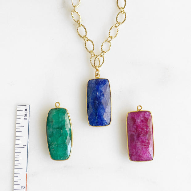 Gold Chunky Chain Necklace with Rectangle Gemstone Bezel Stones. Sapphire Emerald Ruby Pendant Necklace