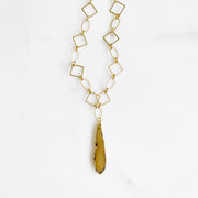 OOAK Raw Stone Statement Necklace with Chunky Gold Chain