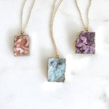 Load image into Gallery viewer, Raw Stone Jewelry. Crystal Druzy Necklace. Geode Necklace. Druzy Jewelry. Stone Necklace. Peach Blue Purple Gold Necklace. Chunky Necklace.