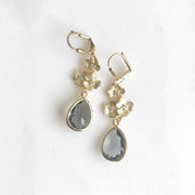 Charcoal Grey and Gold Bridesmaid Earrings. Bridal Drop Earrings. Gold Fashion Earrings