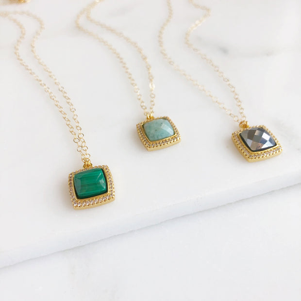 Cubic Zirconia and Dyed Stone Necklace. Square Stone Dainty Necklaces