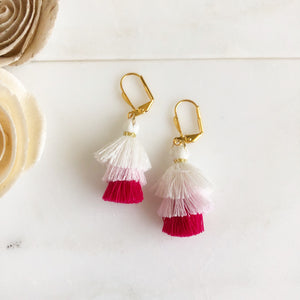 Cute Puffy Dangle Earrings in Shades of Pink and White. Tassel Earrings. Sweet Jewelry Gift.