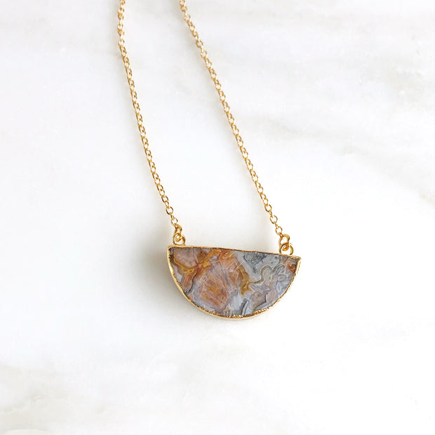 Stone Crescent Necklace in Gold. Natural Stone Crescent Necklace