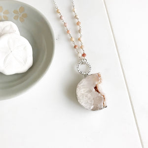 Long Amethyst Raw Crystal Necklace in Peach Tones and Silver. Long Raw Stone Necklace in Silver. Bohemian jewelry.