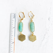 Hexagon and Amazonite Stone Brushed Gold Earrings. Gold Geometric Dangle Earrings