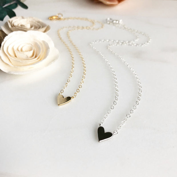 Dainty Heart Layering Necklace. 14k Gold Filled or Sterling Silver