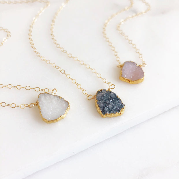 Simple Druzy Necklace. Druzy Quartz Necklace. Dainty Druzy Necklace. Black White or Pink Druzy.