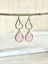 Load image into Gallery viewer, Gold Pink Drop Earrings. Soft Pink Teardrop Drop Earrings. Gift for Her. Dangle Earrings. Modern Drop Earrings. Bridesmaid Gift.