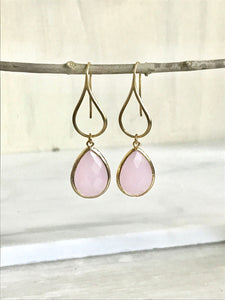 Gold Pink Drop Earrings. Soft Pink Teardrop Drop Earrings. Gift for Her. Dangle Earrings. Modern Drop Earrings. Bridesmaid Gift.