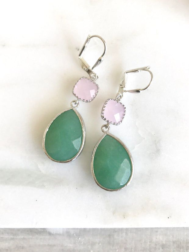Green and Pale Pink Bridesmaid Earrings. Bridesmaid Jewelry. Silver Earrings. Wedding Jewelry. Bridesmaid Gift. Jewelry Gift..