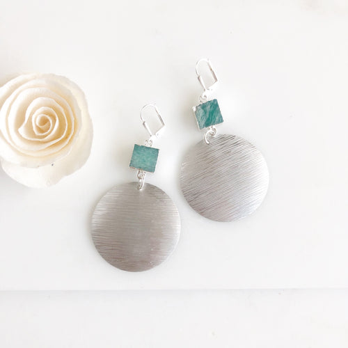 Silver Textured Disk and Amazonite Statement Earrings.