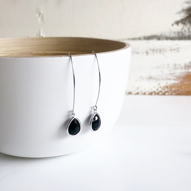 Black Dangle Drop Earrings in Silver. Simple Glass Earrings