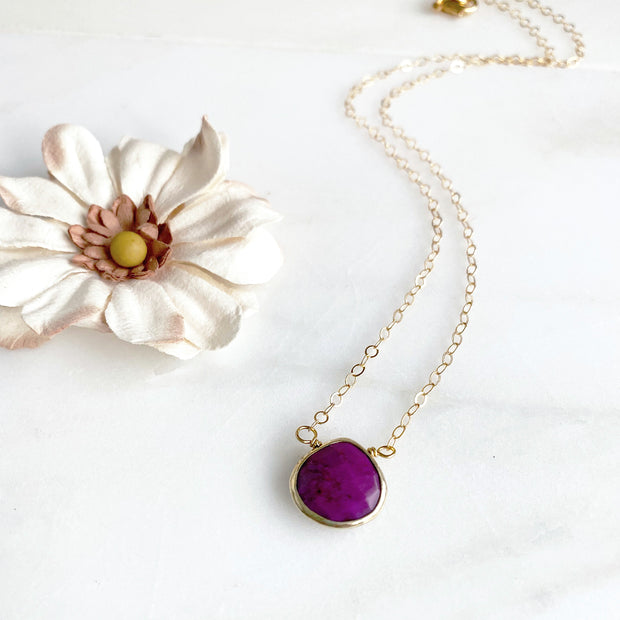 Purple Turquoise Water Drop Necklace in Gold. Dainty Layering Necklace