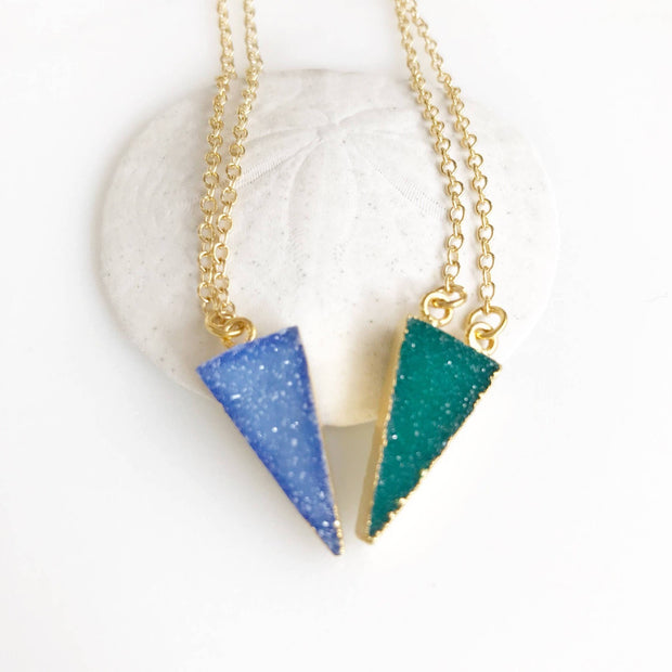 Tiny Triangle Druzy Necklace. Green Blue Druzy Necklace. Triangle Druzy Necklace. Crystal Geode Necklace. Jewelry. Gift Jewelry Gift.