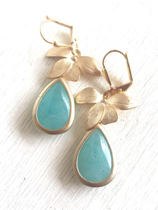 Aqua Teardrop and Gold Orchid Dangle Drop Earrings. Aqua Dangle Bridesmaid Earrings. Jewelry Gift for Her. Christmas Gift. Holiday Gift.