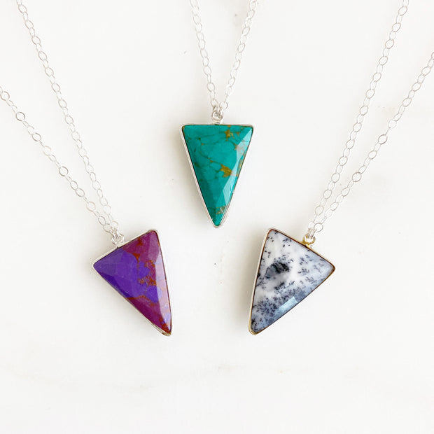 Sterling Silver Triangle Stone Necklace. Triangle Pendant Silver Necklace
