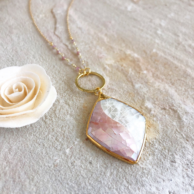 Long Necklace with Mother of Pearl Pendant and Gold Chain. Long OOAK Statement Necklace.