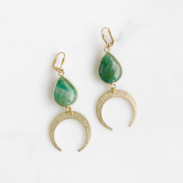 Teardrop Stone and Crescent Dangle Earrings in Gold. Blue Red Green Gemstone Moon Earrings
