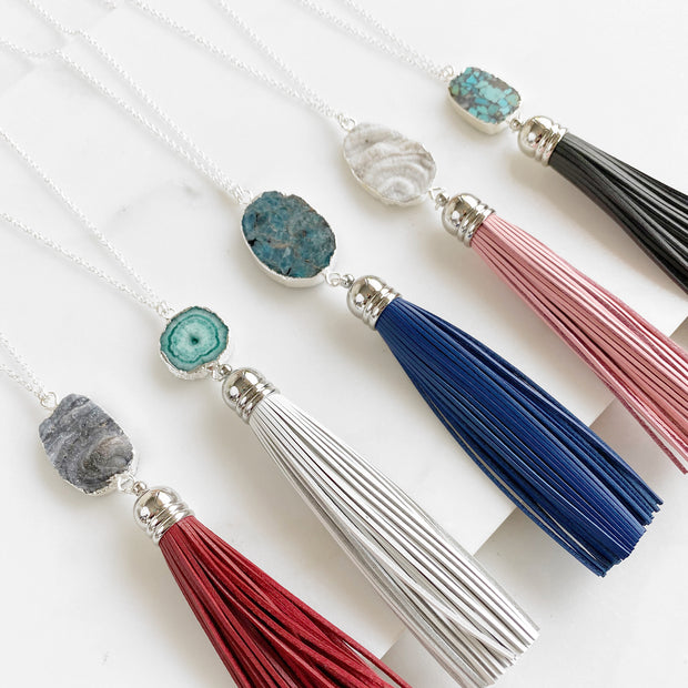 Long Tassel Necklace in Silver. Burgundy White Navy Pink Gray. Crystal Boho Tassel Jewelry
