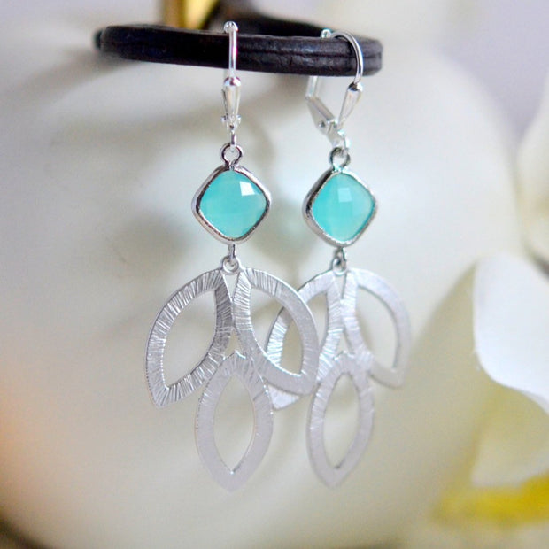 Turquoise Blue Dangle Earrings in Silver. Blue Leaf Drop Earrings. Tutquoise Jewelry. Bridesmaid Earrings. Gift for Her. Christmas Gift.