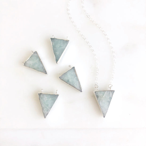 Pale Blue Agate Triangle Necklace in Sterling Silver