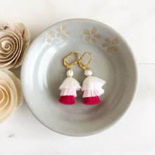 Load image into Gallery viewer, Cute Puffy Dangle Earrings in Shades of Pink and White. Tassel Earrings. Sweet Jewelry Gift.