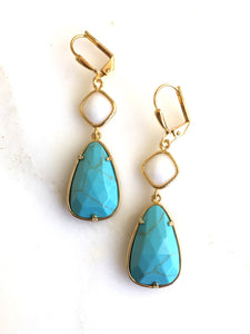 SALE Turquoise and White Dangle Earrings in Gold. Dangle Earrings. Bridesmaids Jewelry. Earrings.