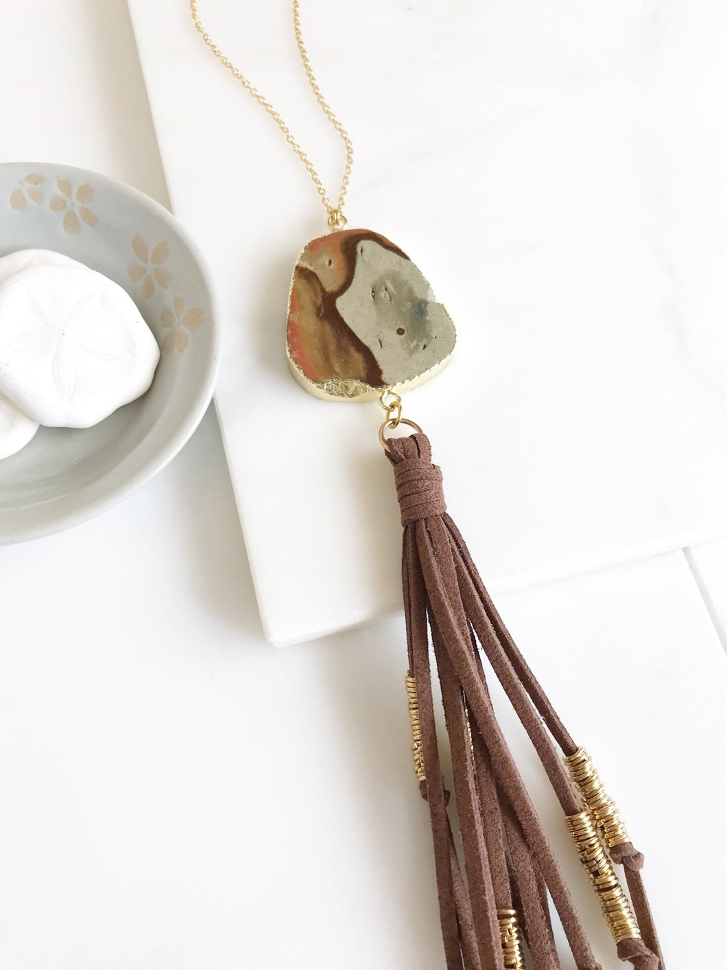 Boho Tassel Necklace. Stone and Brown Tassel Necklace. Long Brown Slice Tassel Necklace. Boho Jewelry. Unique Gift Idea.
