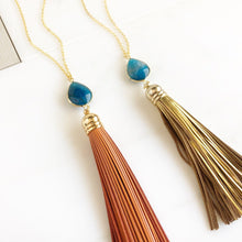 Load image into Gallery viewer, Tassel Necklace. Blue Stone and Gold or Orange Tassel Necklace. Leather Tassel. Geode Tassel Necklace. Tassel Necklace. Boho Jewelry.