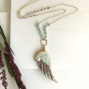 OOAK Wing Long Necklace with Amazonite Beaded Chain. Long Unique Boho Necklace in Cream and Aqua. One of a Kind Jewelry.