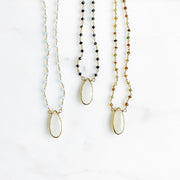White Chalcedony Teardrop Necklace with Beaded Chain. Gold Chalcedony Pendant Necklace